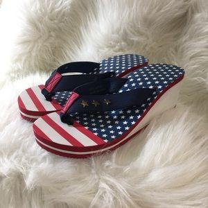 Patriotic Wedge Sandals
